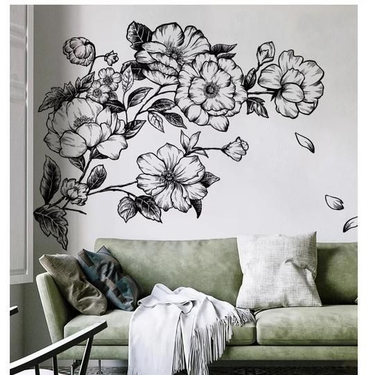 Decorate Your Home With This Floral Hand Painted Vinyl Decal This Beautiful Wall Decal Allows You To Personalize Wall Stickers Home Decor Home Decor Room Decor