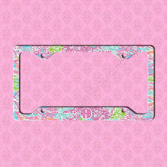 Custom License Plate Frame  Monogram Lilly by pinkblossomdesign and this for my new car.