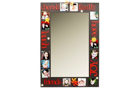 Magnetic mirror - Carol Roeda Studios.... change out pics and magnets