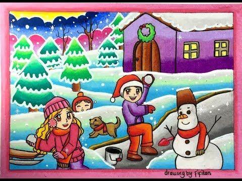 Cara Menggambar Pemandangan Bersalju Winter Dan Gradasi Warna