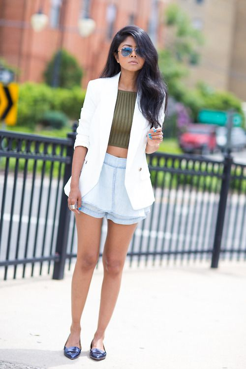 Women's White Blazer, Olive Cropped Top, Light Blue Denim Shorts ...