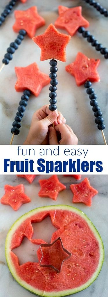 Easy DIY fun and patriotic Fruit Sparklers using Wooden skewers lined with blueberries and watermelon. Perfect fruit dessert and easy side dish for Memorial day or the Fourth of July! #fourthofjuly #july4 #easy #forkids