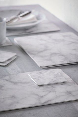Set Of 4 Marble Placemats And Coasters In 2020 Placemats Marble Decor Coasters