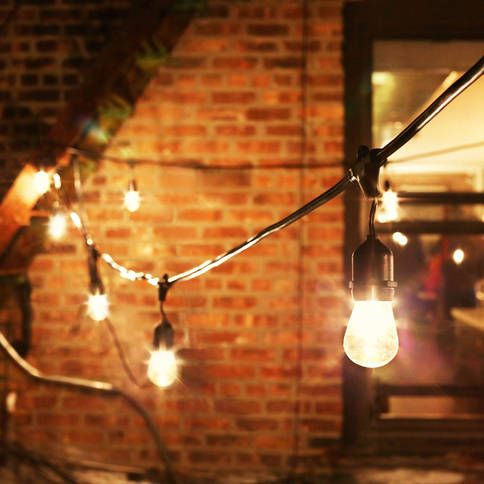 Heavy Duty Patio String Lights : Heavy Duty 15-Socket Vintage Light Strand with Bulbs Gardens, Plugs and Vintage