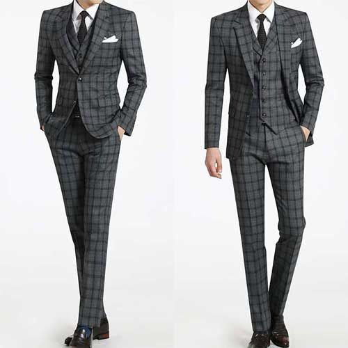Details about men s gray tartan checks plaid suit prom wedding