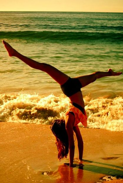 handstands in the sand