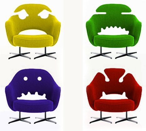 Retro Furniture Hacks: 4 Vintage Modern 'Monster Chairs' - they have faces!