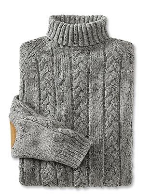 Tweed cable-knit turtleneck...