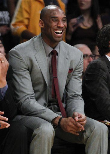 Kobe Bryant in Grey suit with maroon tie | Cool Cats: Ballers ...