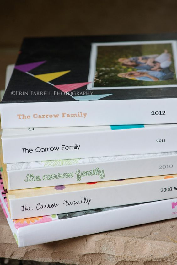 """Create """"yearbooks"""" for family photos! Before we have kids, I'll make one of photos from when I met my husband to before having kids. Then after that, I'll make a """"family"""" album for each year."""