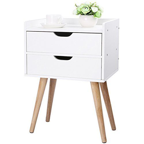 Nightstand With Drawer Furniture Bedroom End Modern Side Table Wood Bedside New