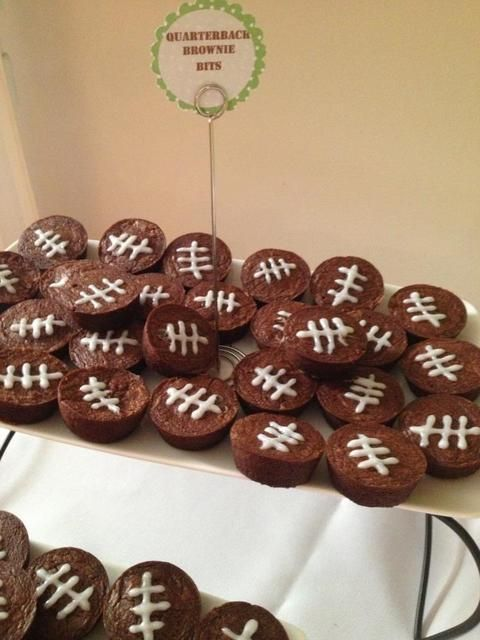 Mini brownies at a Football Party.   See more party ideas at CatchMyParty.com.  #footballparty