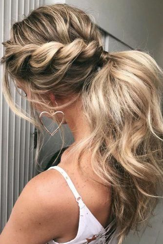 30 Modern Pony Tail Hairstyles Ideas For Wedding Wedding Forward Tail Hairstyle Twist Ponytail Long Hair Styles