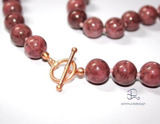 Weiteres - Halskette Rhodonit mit Rose Gold Verschluss - ein Designerstück von pm-schmuckdesign bei DaWanda