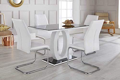 Furniturebox Uk Giovani Black White High Gloss Glass Dining Table Set And 4 Modern Lorenzo Ch Glass Dining Table Set Dining Table Setting Dining Table