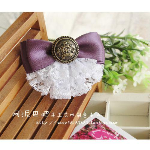 Bow Ribbon, Lace and Button - Moño de cinta, encajes y botón