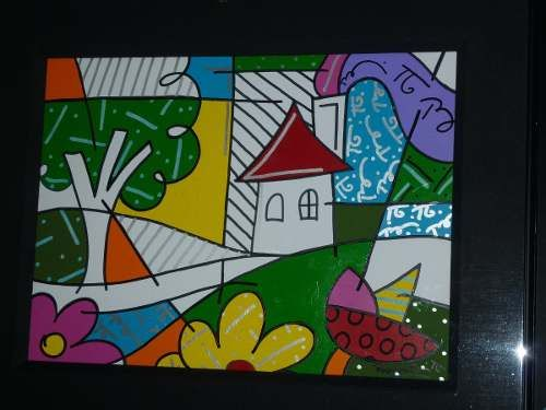 """Romero Britto Original Acrylic on Paper for sale.  ARTIST: Romero Britto (Brazilian - American, 1963.)  TITLE: """"House with tree on left""""  DESCRIPTION: Acrylic on Paper, Miami 1996, 26 X 20 Inches, Signed lower right corner.  CONDITION: In excellent condition  FRAMING: Framed in original frame  PRICE: US $ 22.500"""