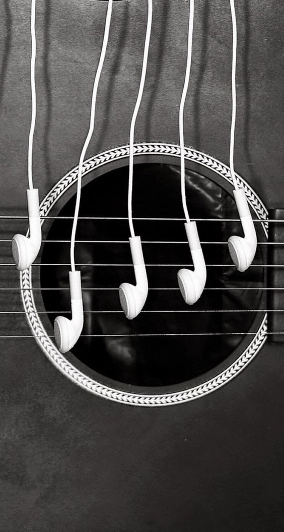 Headphones and a guitar. HD iOS7 HD wallpaper for iPhone