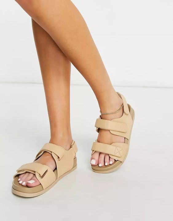 Factually Sporty Sandals in Beige asos