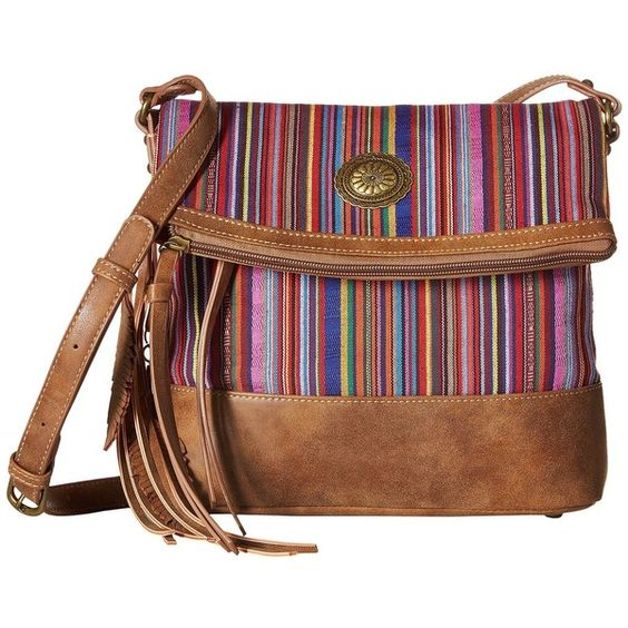 American West Serape Fold-Over Crossbody (Medium Brown/Mexican Pink)... (£53) ❤ liked on Polyvore featuring bags, handbags, shoulder bags, brown shoulder bag, cross-body handbag, handbags shoulder bags, purse pouch and native american purse