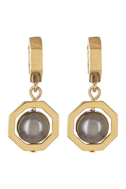 Image of Louise et Cie Jewelry Faux Pearl Drop Mini Hoop Earrings