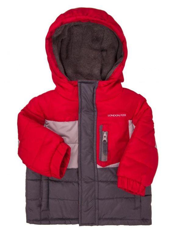 London Fog Winter Jacket Boys 24 Months Gray Red Coat Outdoor