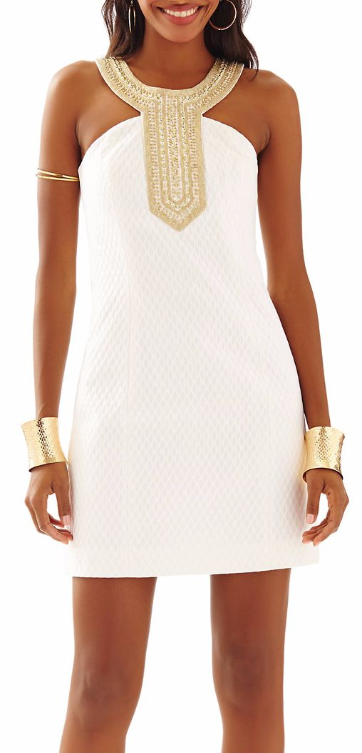 White Shift Dress with Embelllished Gold Collar Neckline