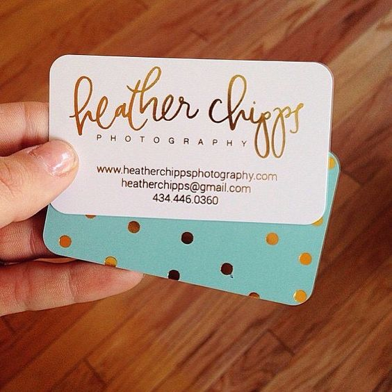 Love the gold polka dots on Heather's business cards.  Do you need fancy…