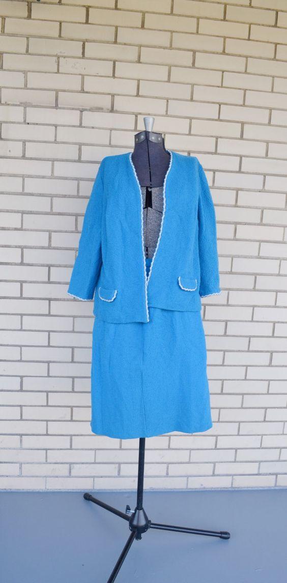 60s blue skirt suit Butte Knit