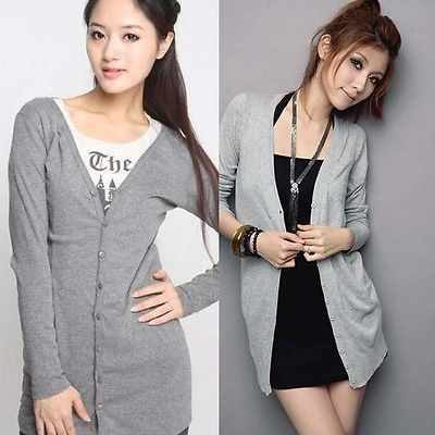 Casual Womens Long Sleeve Knitwear Jumper Cardigan Long Coat Jacket Sweater New