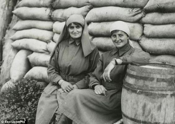 Mairi Chisholm (L) was a Scottish motorbike fanatic who joined the Flying Ambulance Corps in Belgium. She & her friend Elsie Knocker did vital work in WWI, ferrying wounded soldiers to a field hospital in Furnes, & taking mutilated corpses to the mortuary. Appalled by the number of deaths, they left the Corps & set up their own illegal dressing station just 100 yards from the trenches, where they saved thousands of mens lives on the Belgian Western Front. Mairi was awarded the Belgian Order: