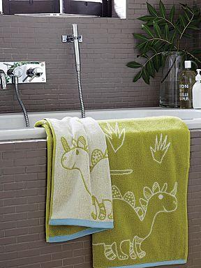 Jolly Jurassic towel range in green