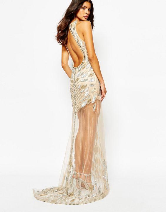Imagen 2 de Vestido largo adornado con lujosa pedrería en toda la prenda de A Star Is Born