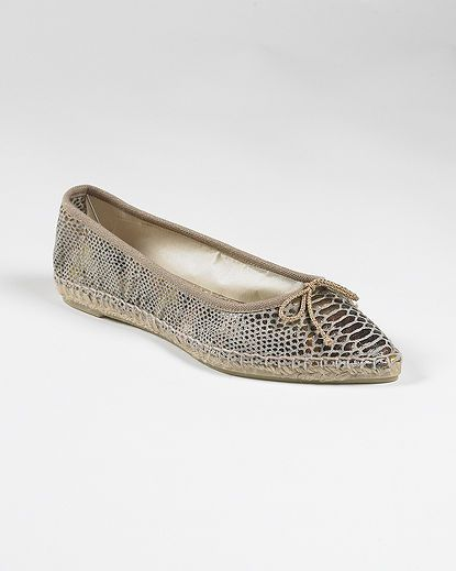 Ballet-Style Espadrille with Pointed Toe in Snake-Print Canvas