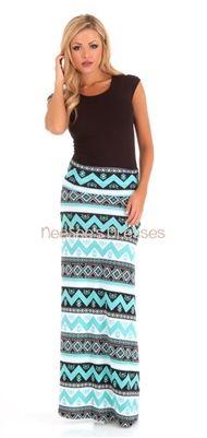 Mint Aztec Maxi Skirt   Trendy Modest Clothing   Chevron Maxi Skirt