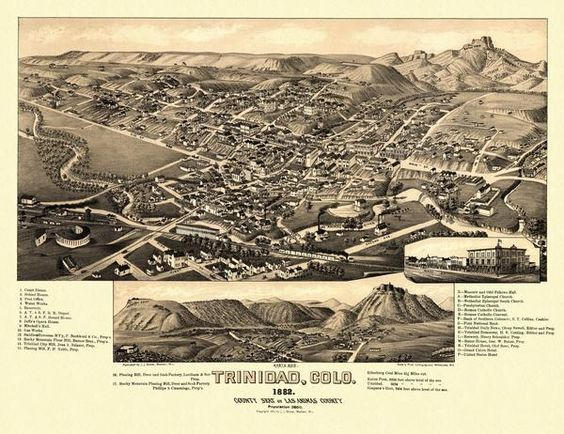 """Trinidad Colorado County Seat Of Las Animas County Includes Illus Index To Points Of Interest And View """"North Side """" 1882 Year 1882 City Tr..."""
