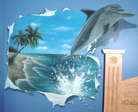 Beautiful jumping dolphine wall murals kids room best for Dolphins paradise wall mural