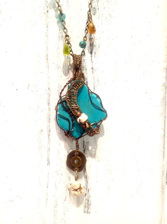 White and Turquoise Howlite and Crystal by TheBlueYonderStudio, $139.00