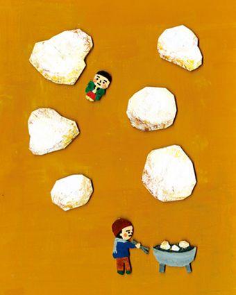 Selling rice cakes モチ屋  Drawing by Ryoko Totsuka (@Ryoko Totsuka)