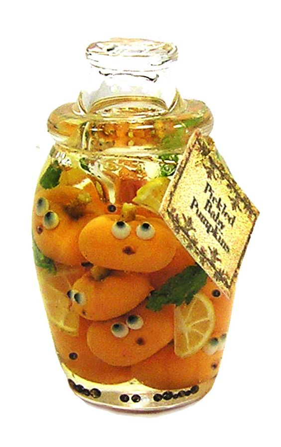 Dollhouse Miniature Jar  of Pickled Baby Pumpkins - Handmade 1:12 scale