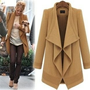 2 Colors Big lapel long coat jacket woolen blouse plus size trench
