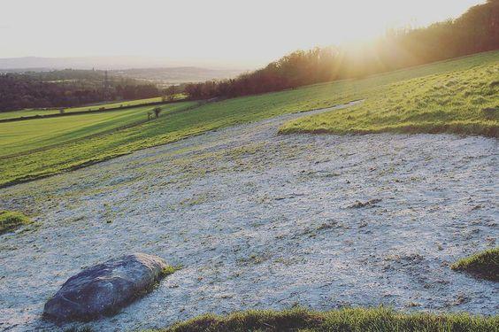 Sun setting over Devizes White Horse Roundway. by illardesign