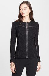 St. John Collection Plume Lace Jacket with Leather Trim