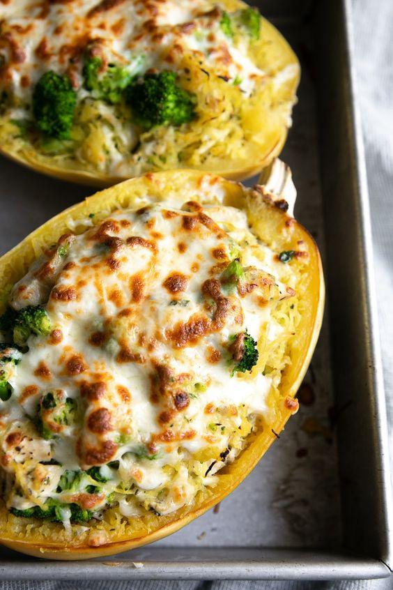 Chicken and Broccoli Stuffed Spaghetti Squash
