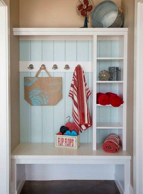 Mudroom Storage Ideas Pinterest : Simple coastal entryway storage ideas with benches