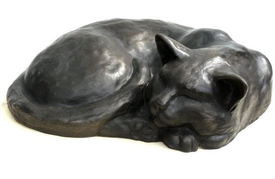 Sleeping cat - Bronze sculpture by Peter Close