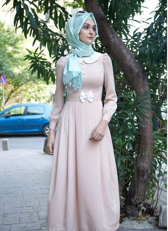 Blue scarf with pink long frock for party