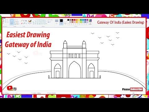 How To Draw Gateway Of India Easy Drawing Learnbyart Youtube