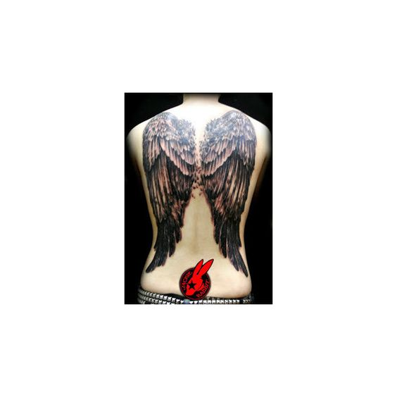 Angel Wing Back Tattoos Awesome Lifestyles ❤ liked on Polyvore featuring accessories
