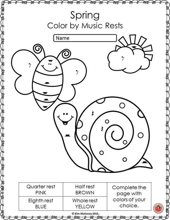 music notes symbols coloring pages - spring music activities color by music symbol music